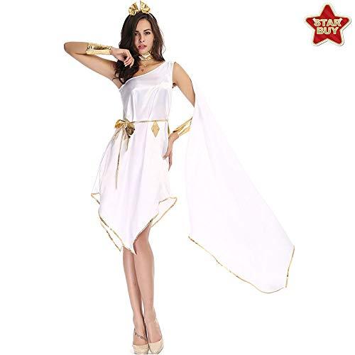 Kostüm Satin Göttin - COSOER Griechische Göttin Cosplay Kostüm Fließender Unregelmäßiger Rock Uniform Anzug Für Halloween,White-OneSize