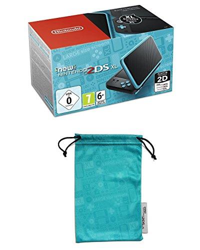 New Nintendo 2DS XL - Consola Portátil, Color Negro y Turquesa + Bolsa de microfibra