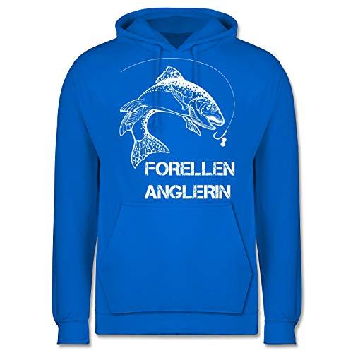 Shirtracer Angeln - Forellen Anglerin - weiß - M - Himmelblau - JH001 - Herren Hoodie
