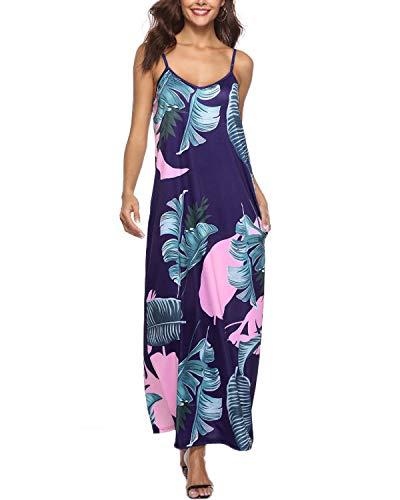 Auxo Damen Ärmellos V-Ausschnitt Blumen Kleid Lange Lose Strandkleider Rückenfrei Dress 02-blau Medium - Lose Kleid Sexy