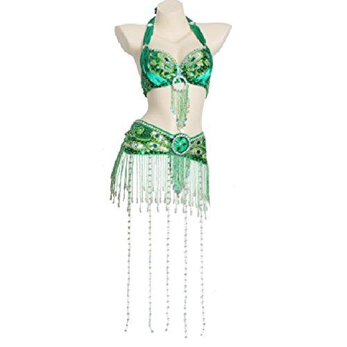 Professionel Bauchtanz Kostüme Für Frauen Performance Tanz-Outfit Set handgefertigt BH-Halfter und Gürtel Lange Fringe Perlen, Green, ()