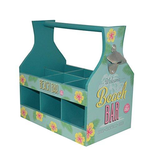 Nuovo Tropical ' Beach Bar ' 6 Sezione birra Soda bottiglia può bagagli Carrier con apribottiglie ( verde )