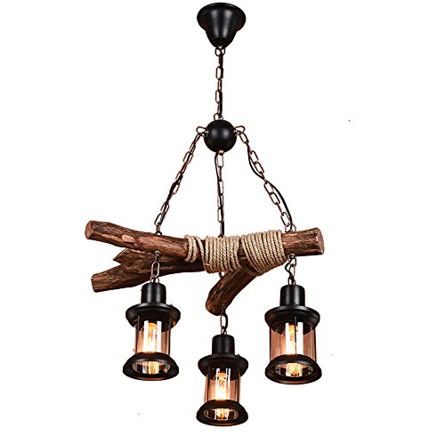BCYEM Retro Pendelleuchte Holz Vintage Kronleuchter Rustikal Hängelampe für Esstisch Küche Dekorative Ambientelicht Beleuchtung Industrielampe (ohne Glühbirne)