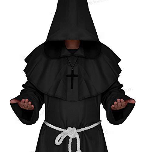 XXF Halloween Cosplay Kostüm Mittelalterlichen Mönch Kostüm Mönch Gewand Hexe Kostüm Priester Kostüm Christian Anzug,Schwarz,L