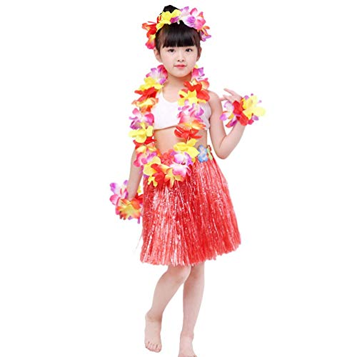 Männer Girl Kostüm Hula - Haobing 5 in 1 Hawaii Party Kostüm Set Fancy Dress Luau Hula Rock Blumen Stirnband Armband Girlande für Mädchen (Rot, 40cm Quasten Rock)