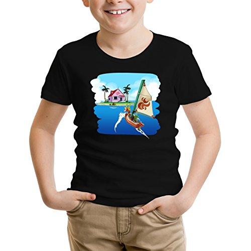 Okiwoki T-Shirt Enfant Noir Dragon Ball Z - Zelda parodique La Kame House et Link : Une île Perdue. (Parodie Dragon Ball Z - Zelda)