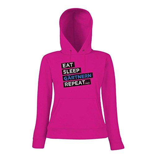 Hobby Gärtner #1 Hoody   Gärtner-Hoody   Eat Sleep Repeat   Gartenprofi   Frauen   Kapuzenpullover Pink