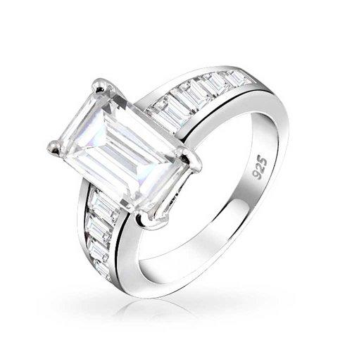 Bling Jewelry Art Déco-Stil 4 Ct Square Asscher Cut AAA Cz Seite Baguette Band Solitär Verlobungsring 925 Sterling Silber Für Frauen (4ct Engagement Cz Ring)