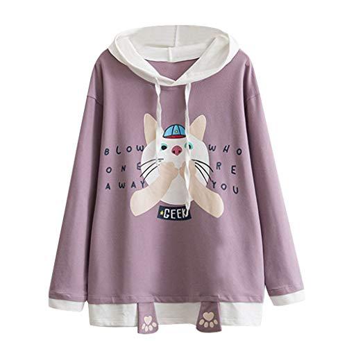 Sylar Sudaderas Para Mujer Cortas,Moda Lindo Gato De Impresión con Capucha Manga Larga Suelto Outwear Camiseta Blusa Tops Pullover Jersey Talla Grande