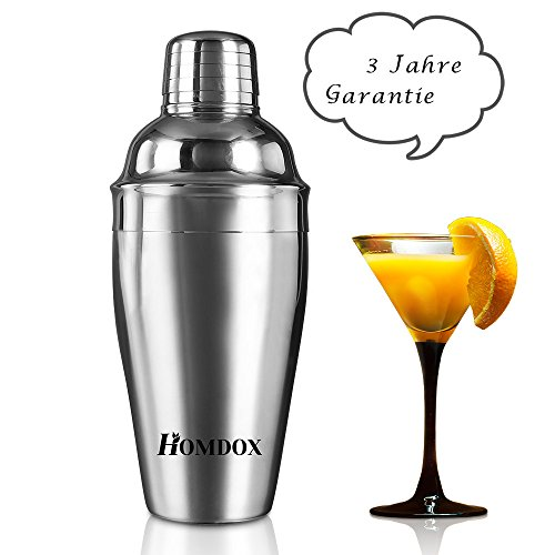 Homdox Cocktail-Shaker mit Sieb 3 tlg. Edelstahl 18/10 500ml 2192