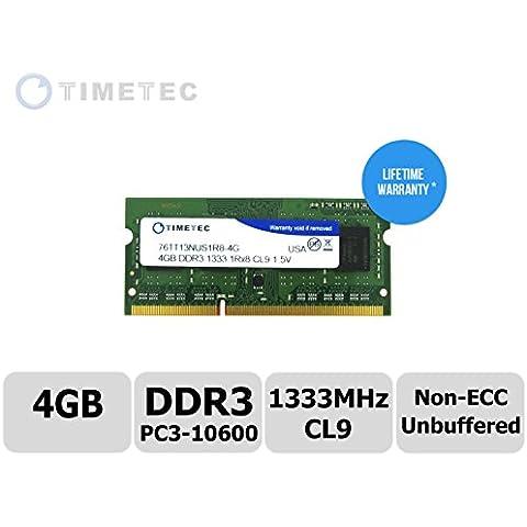 Timetec® (P/N 76tt13nus1r8 - 4 G) único rango 1333 mhz DDR3 (PC3 - 10600) Non-ECC sin búfer, CL9, 204 pines SODIMM 1Rx8 512 x 8 1,5 V Windows PC portátil Notebook memoria RAM memoria (4GB)