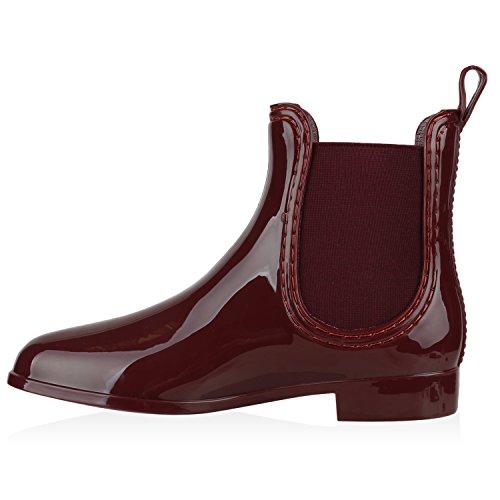 Damen Stiefeletten | Chelsea Boots Lack | Damenschuhe Muster Animal Print | Blockabsatz Schuhe Dunkelrot