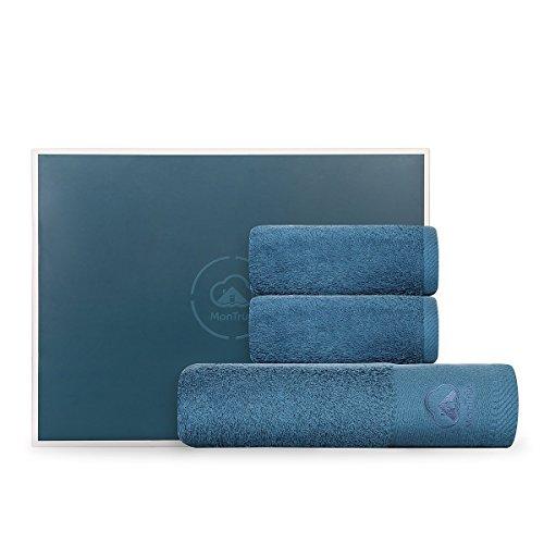 Montrüe - set di asciugamani da bagno luxus, 500 gsm, assorbenti dall'acqua, 1 asciugamano da bagno e 2 asciugamani, 100% cotone, colore: blu pavone