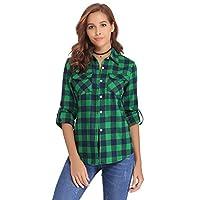 Abollria Womens Casual Long Sleeve Boyfriend Plaid Button Down Flannel Checked Shirt Green