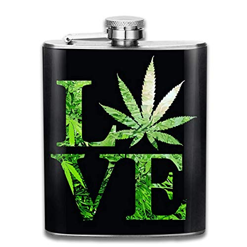 Fancy Flask Edelstahlflaschen 7 Oz Love Marijuana Weed Leaf Print (2) Whiskey Flask Hip Flask Leak Proof Wine Men Women -