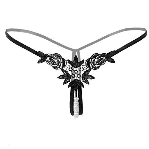Yazidan Sexy Anhänger Dame Pearl G-Strings Höschen V-String Frauen Höschen Low Waist Unterwäsche Mesh Stickerei Muster Crotch Unterwäsche Perspektive Krawatte Riemen Lace Erotische Unterwäsche