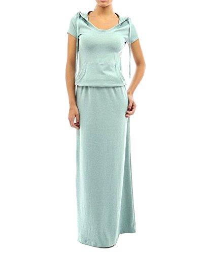 Moollyfox femmes Robes Pull Longue Hoodie A Line Col en V à Manches Courtes Casual Bleu Clair
