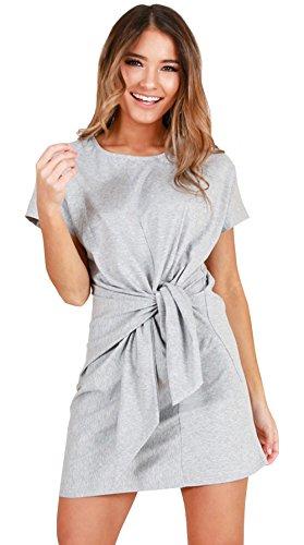 ALAIX Damen Kleider Kurzärmeliges Casual Sommerkleider Freiteits-und Arbeitskleid für Damen Grau-M