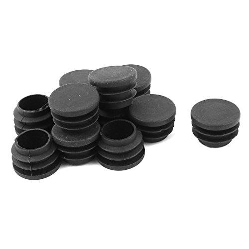 sourcing map Lot de 12 plastique noir diamètre 25 mm embouts ronde Embouts Patins Pieds de Meuble