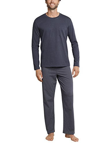 Schiesser Anzug lang Herren Schlafanzughose, Grau (Anthrazit 203), Large (Herstellergröße: 052)