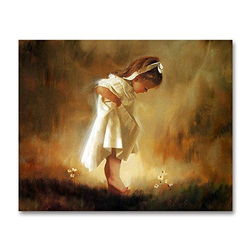 Superluckty DIY Digital-Ölgemälde Kindermöbel Dekorative Gemälde kleines Mädchen White Rock Engel Lolita Digital Painting Engel 40x50cm (Kleinen Mädchen White Rock)
