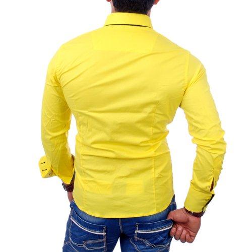 Reslad Herren-Hemd Slim Fit Kontrast Langarm-Hemd Alabama RS-7050 Gelb-Schwarz
