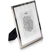 Marco 20 x 25 cm metal - Marco de foto Elegante Galvánico - Frente de CRISTAL - Con Paspartú para fotos 13 x 18 cm incluido - ¡Grosor 1,5 cm! - Plata brillante