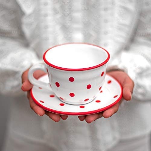 City to Cottage | Tasse et sous tasse à café, à thé | blanche à pois rouges en céramique faite et peinte à la main | Grande 350ml