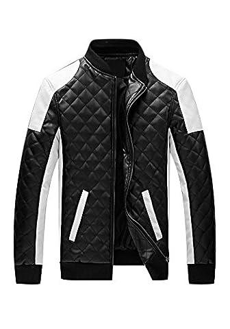 DOOXIUNDI Men's Latticed Baseball Bomber Faux Leather Jacket (3XL, black)