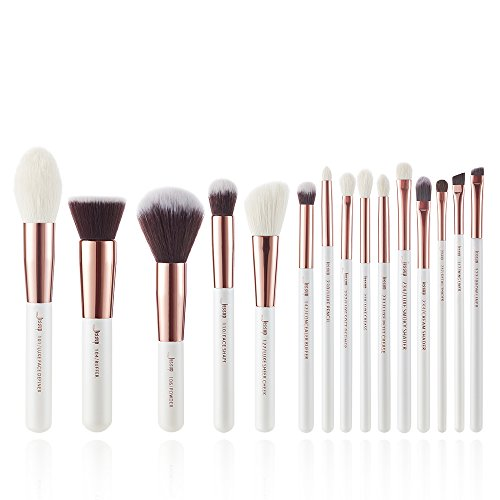 Jessup 15pcs pennelli trucco professionale set make up brush tools kit fondotinta in polvere definer shader liner pearl bianco/oro rosa t220