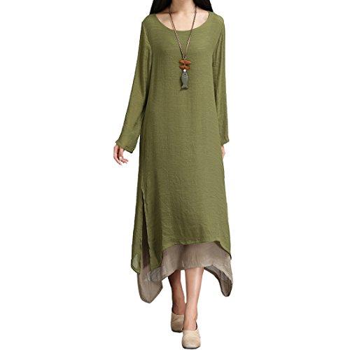 SiDiOU Group Damen Baumwoll Leinen Vintage Kleid Split Unregelmäßigen Saum Casual Loose Boho Lange Plus Size Maxi Kleider (L, Armeegrün) (Plus Maxi-kleid)