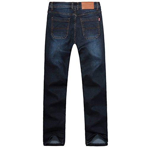 OCHENTA Herren lange Jeanshose Freizeithose Straight Leg Loose-Fit Elastisch Dunkelblau