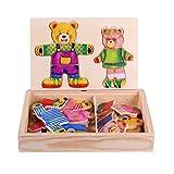 F-blue Baby Lernspielzeug Karikatur-Bären-Kleidung Wechseln Puzzles Hoelzern Puzzle-Set für Kinder Kinder Holzspielzeug