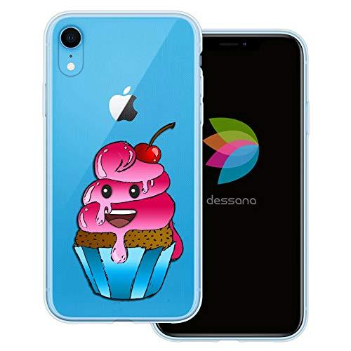 dessana Comic Food transparente Schutzhülle Handy Case Cover Tasche für Apple iPhone XR Cupcake Kuchen