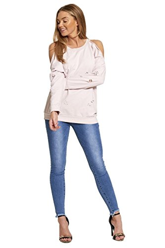 Janisramone - Sweat-shirt - Pull - Manches Longues - Femme noir * taille unique Rose