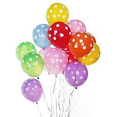 Idea Regalo - Gudotra 100pz Palloncini a Pois Spesso Colorati per Decorazione Compleanno Feste Matrimonio Natale Addobbi per Feste di Compleanno