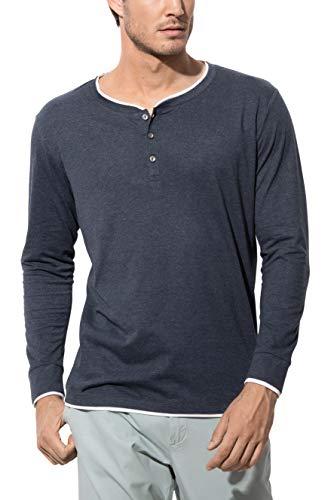 Stedman Original Premium Henley-Langarmshirt im Lagen-Look mit Knöpfen für Herren - Größe M
