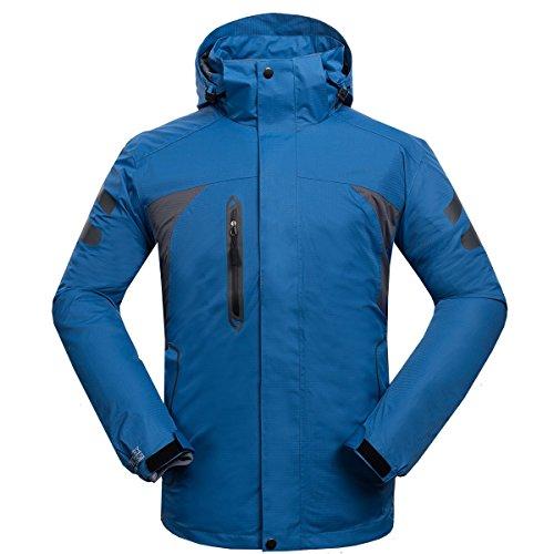 emansmoer Homme 3 en 1 Veste Coupe-Vent Capuche Imperméable Respirant Outdoor Sport Camping Randonnée d'escalade Manteau (XX-Large, Bleu foncé)
