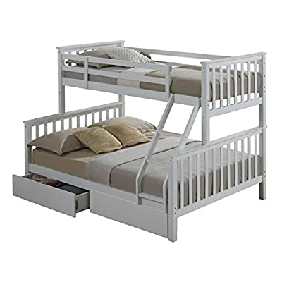 Maxi White Finished Hardwood Triple Sleeper Bunk Bed with Storage Drawers. 2 Man Delivery