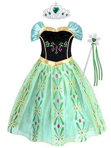 AmzBarley Anna Kostüm Kinder Mädchen Prinzessin Kleid Krönung Eiskönigin Dick Kleider Halloween Cosplay Geburtstag Party Verrücktes Kleid Karneval Ankleiden Winter Kleidung (Prinzessin Anna Kostüm)