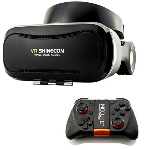 Virtual Reality 3D Brille VR Shinecon Headset für virtuelle Realität + Bluetooth Mocute 050 Gamepad - Universal VR-Box mit Fernbedienung für Handy, 3D Filme, VR-Movies, VR-Games, 360 Grad Spiele | Kompatibel mit Android & iOS - alle 3,5 bis 6 Zoll Smartphones von Samsung Galaxy | Apple iPhone | Huawei | Sony Xperia | HTC | Google Pixel | LG | Microsoft
