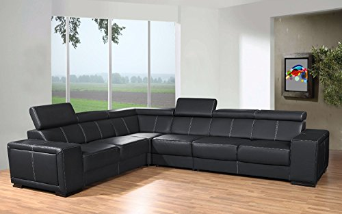 tendencio Canapé d'angle 6 Places CAARIA Noir Simili Cuir Moderne avec têtières réglables