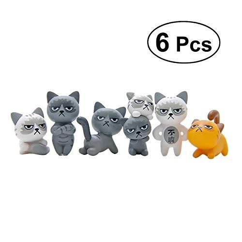 LVA Gartenskulpturen, 6 Stück, niedliche Katze, PVC, kreativ, dekorative Cartoon-Katze zum Basteln, Dekoration für Mikro-Landschaft Zuhause