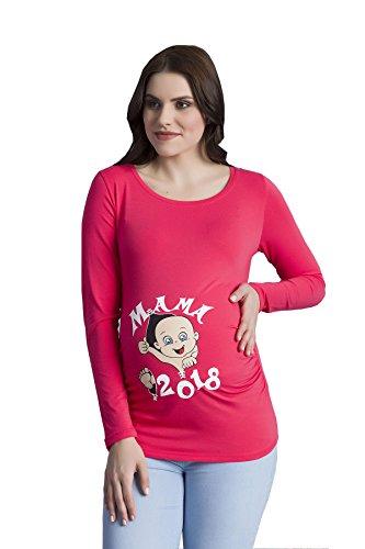 Verkauft von MamiMode Mama 2018 - Witzige Süße Umstandsmode T-Shirt mit Motiv Schwangerschaft, Langarm (Large, Koralle) (Rote Koralle Rau)