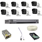HIKVISION Full HD 5MP Cameras Combo KIT 8CH HD DVR+ 8 Bullet Cameras +2TB Hard DISC+ Wire ROLL +Supply & All Required CONNECT