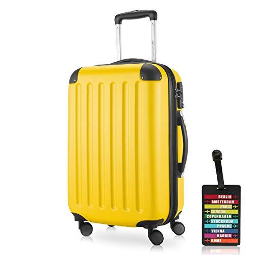 Hauptstadtkoffer - Spree Handgepäck Kabinentrolley Bordgepäck Hartschalen-Koffer, sehr leicht, TSA, 55 cm, 42L, Gelb inkl. Design Kofferanhänger