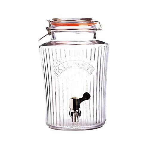 VINTAGE Bügelverschluss Getränkespender 5 Liter, Glas/Metall/Edelstahl, Maße: 25 x 19 x 30 cm