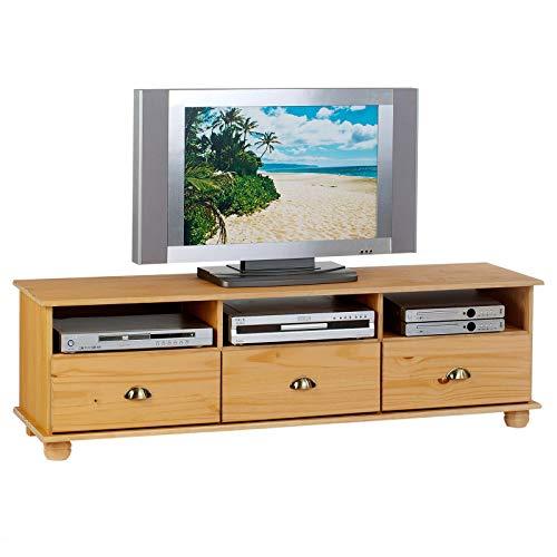 IDIMEX Meuble TV Colmar avec 3 niches et 3 tiroirs Style Maison de Campagne, en pin Massif Finition cirée