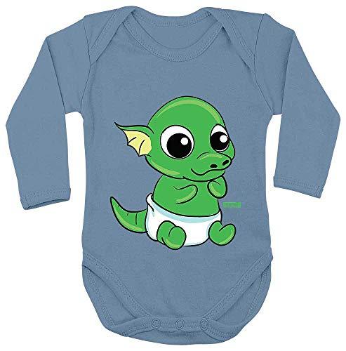 Ei Voll Kostüm - HARIZ Baby Body Langarm Baby Drache Schlüpft Aus Ei Süß Tiere Dschungel Plus Geschenkkarten Himmel Hell Blau 62-68