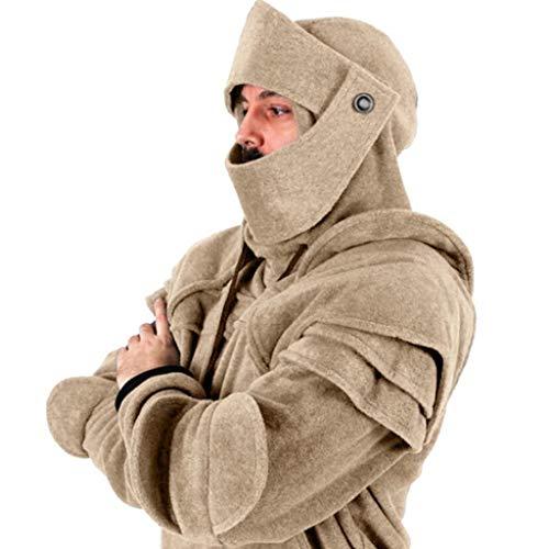 YCGG Herren Retro Maske Sweatshirts Pullover,Herren Knight Hoodies, Kostüm Winter Drawstring Rider Kapuzen Schwarz,Grau, Rot, Armeegrün, Khaki, Kaffee (L, Kaffee) (Knight Rider Kostüm)